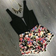 Sexy Floral Printed Sleeveless Halter Piece Romper&Jumpsuit