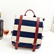 Rétro Navy Stripe Canvas Sac à dos et sac d'école