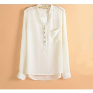 Fashion Epaulette Chock Sleeved Pearl Chiffon Shirt