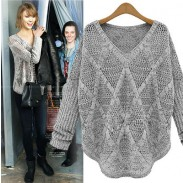 Unique Diamond Hollow Out Long-sleeved knit &Cardigan