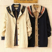 Vintage Folk Style Jacquard Twist Crochet knit &Cardigan