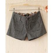 Fashion houndstooth woolen Leopard Printed Shorts