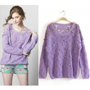 New Sweet Lace Crochet Wool Ball Sweater &Knitting