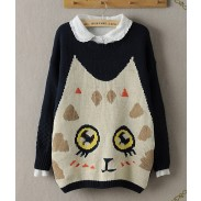 New Style Cute Eyes Cat Wool Sweater&Cardigan