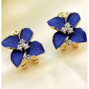 Unique Lis Fleurs faux diamant Des boucles d'oreilles& Goujon