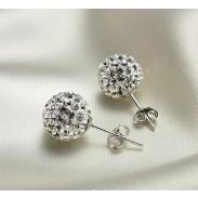 Nouveau Cristal Balle faux diamant Boucles d'oreilles en argent& Goujon