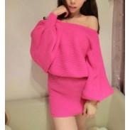 Unique Sexy Strapless Bat Sleeve Sweater Dress&Dress