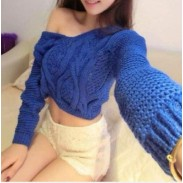 Fashion Strapless Back Straps Navel Crochet Knit Sweater