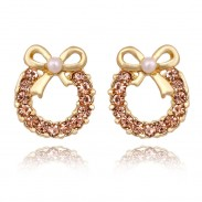 Mode Perle Arc faux diamant Des boucles d'oreilles& Goujon