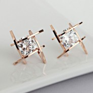 Mode Unique Tic Tac Toe Triangle Zircon Boucles D'oreilles Goujons