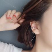 Clip de boucle d'oreille de femmes uniques en argent goutte diamant longue ligne