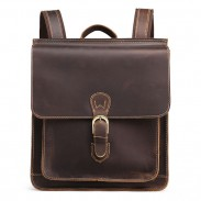 Rétro en cuir véritable britannique boucle unique sac à dos de voyage carré fait main original
