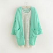 New Fashion Mint Green Bat Sleeve Korean Loose Knit Cardigan Sweater