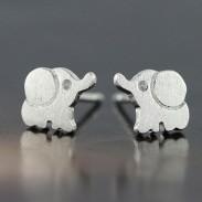 Belle éléphant en argent 925 Boucles d'oreilles