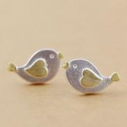 Belle Coeur Oiseau Argent Boucles d'oreilles