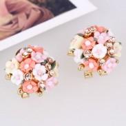 Céramique douce Des roses Boucles d'oreilles à billes clips / Studs
