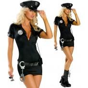 Sexy Déguisement de Police Adulte Halloween Flic Cosplay Uniforme Robe Lingerie Ceinture Menottes pour Femmes Chapeau Lingerie