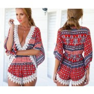 Sexy Geometry Deep V-Neck Long Sleeve Lace One Piece Romper&Jumsuit