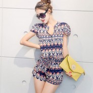Casual Short-sleeved Chiffon One-piece Romper&Jumpsuit