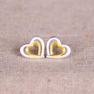 Coeurs double pour Double Amour Argent 925 Boucles d'origine
