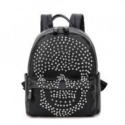 Mode Punk Original diamant rivet Skull Noir Satchel Sac à dos