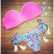 Pearl Tassel Geometry Printing Bikini