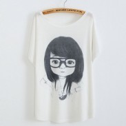 Little Girl Wearing Eye Printed Cotton T-Shirt