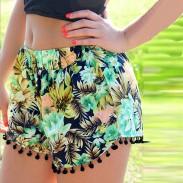 Forest Print Elastic Waist Chiffon Fringed Shorts