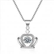 Collier de cristal d'argent de couronne de la mode des femmes couronne de diamant