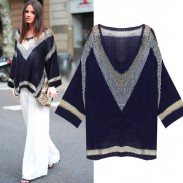 Fashion Casual Asymmetrical Hem Loose Batwing Sleeve Stripe V-neck Sweater