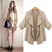 Nouveau l'automne Mode Revers Ondulé Collier Solide Roulé Les manches Décontractée Manteau
