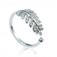 Mode Feuilles Diamant Oouverture réglable Argent Bague