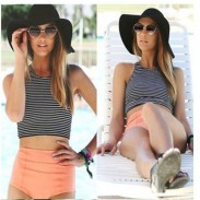 Stripe Sexy Crop Top Bikinis Set High Waist Swimwear Beach Bathing Suit