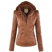 Veste en cuir de mode automne hiver faux cuir détachable faux deux pièces capuche vestes à glissière manteau vêtements en cuir