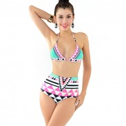 Sexy Mixte Couleurs Rayé Triangle Haut taille Bikini Maillot de bain