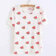 Leisure Red Watermelon Printed Fruit Cotton White T-Shirts
