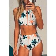 Coconut Tree Bathing Suits High Waist Stripe Bikini Printing Swimsuits Bikini Set