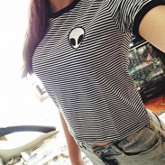 Alien Print Short-sleeved T-shirt Gray And Stripes