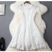 Hand-set Diamond Upscale Hollow Soluble Flowers Slim Dress Party Dress