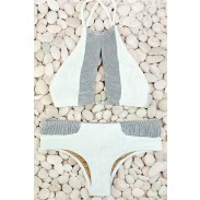 Grey And White Sexy Bikini Set Swimsuit Beach Bathing
