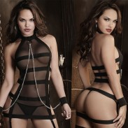 Rayures sexy cosplay prisonnier femmes perspective lingerie