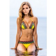 Lemon Yellow Mosaic Bikini Geometry Swimwear Swimsuit