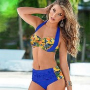 Pineapple Printed Contrasting Color Bikini Plus Fertilizer Swimsuit Swimwear