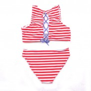 Low-waist Striped Back Strap Classic Bikini Set Swimsuit  Swimwear Bathingsuit