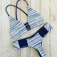 Fashion Stripe Cross Straps Bikini Swimsuit Swimwear Bathingsuit