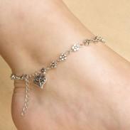 Cheville petite fleur en forme de coeur anneau creux accessoire pied creux cheville