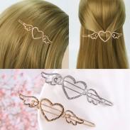Cupidon mignon amour coeur ange ailes métalliques côté femmes pinces à cheveux creuses