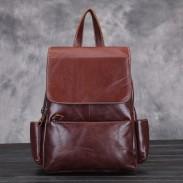 Rétro élégant nouveau sac d'école en cuir de cire d'huile en cuir de vachette à la main original sac à dos d'étudiant