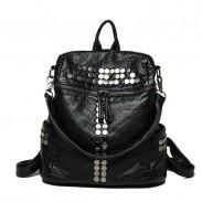 Leisure Multifunction Rivet Black Soft Leather Shoulder Bag School Backpacks