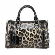 Vintage de luxe imprimé léopard à main en cuir